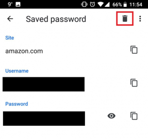 How to delete saved password history in Android